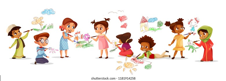 Children of different nationality drawing pictures with chalk pencils illustration of cartoon kids kindergarten. Flat design boys and girls with color pencils draw pictures on walls and floor