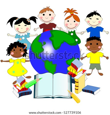 Races Of The World Map.Children Different Races Books Map World Stock Illustration