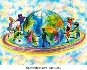 Children of different races running on rainbow around planet Earth. I have created it myself with watercolors and colored pencils .
