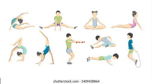 Children doing gymnastics set. Collection of kid character stretching and training. Balance and yoga exercise for child. Flexible body. Isolated flat  illustration