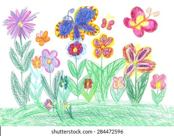 Children drawing butterfly and flowers