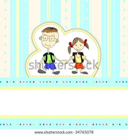Children Drawings Birthday Card Stock Illustration 34765078