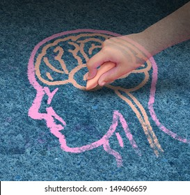 Children education concept  and school learning development with the hand of a child drawing a human head and brain with chalk on a cement floor as a symbol of mental health issues in youth.