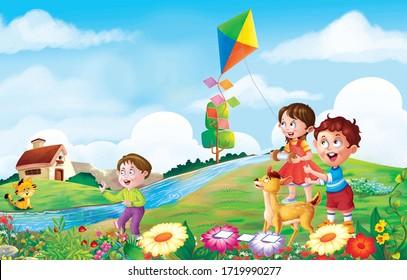 children flying kite in the garden