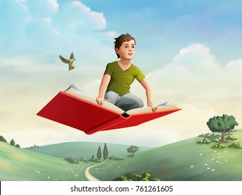 Children flying on an open book through a rural landscape. Digital illustration.