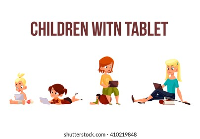 Children girls of different ages played in tablet and did not play in street, cartoon concept of todays children, children sit and chat on  Internet, four girls looking at smartphone, kids phone child