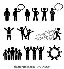 Children Group Pose Welfare Rights Stick Figure Pictogram Icon Cliparts