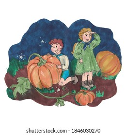 Children have found a great pumpkin for Thanksgiving festival. Brother and sister together. Family
