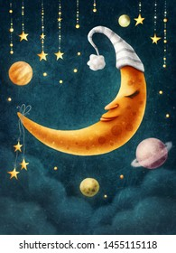 Children illustration of a moon with a sleeping hat