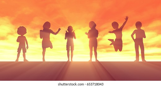 Children Jumping for Joy and Excitement Background 3D Illustration Render