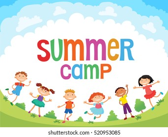 children are jumping on the glade, bunner cartoon funny, Ready for your message. blank template character. illustration summer camp