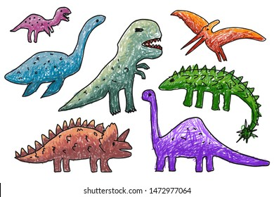 Children painting with a pencil  Draw colorful dinosaurs