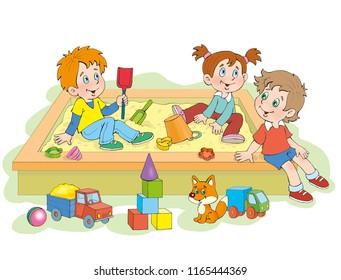Children play in the sandbox in the yard
