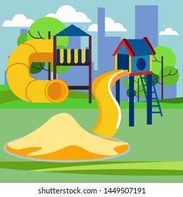 Children playground, kindergarten play. Cartoon raster illustration flat