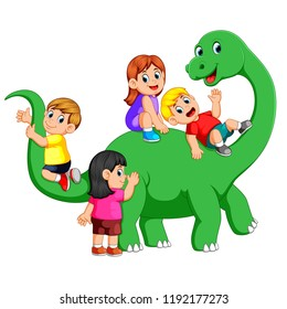 the children playing on the apatosaurus body and get into it with their friend with the big green dinosaur