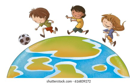 Children playing soccer in the world