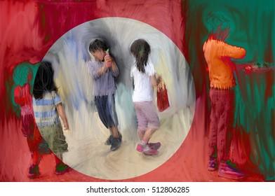 Children playing.Digital drawing.