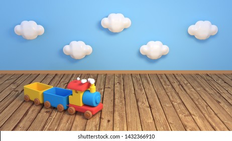 Children playroom with wooden toy train. Cute white clouds on blue wall. 3d rendering picture.
