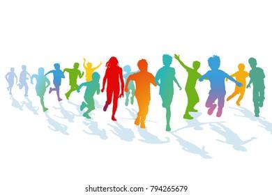 Children running and jumping, illustration