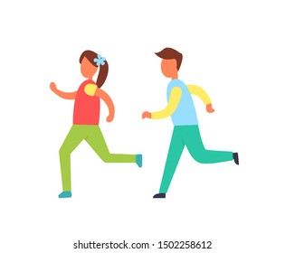 Children running one by another raster badge. Girl and boy shapes in sportswear playing together, flat catching-up kids silhouettes, cartoon style