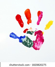 children s handprint painted with paint on a white background