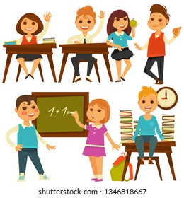 Children in school study at lessons  flat isolated icons