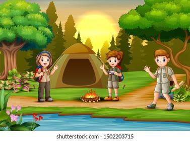 Children scout people adventure camping cartoon illustration