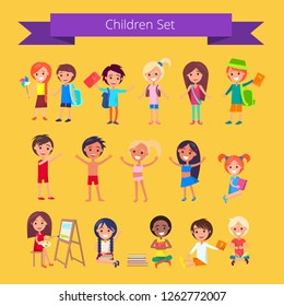 Children set isolated raster illustration on light orange background with inscription. Kids engaging in different school activities