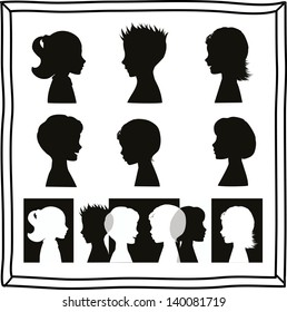 Children silhouettes and banner