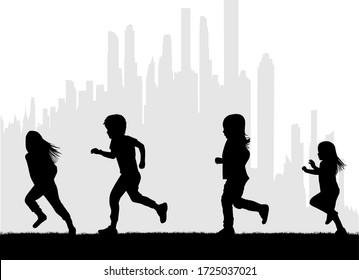 Children silhouettes running. Black silhouette.