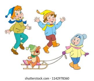 children. sledge. teddy bear. Children in winter.