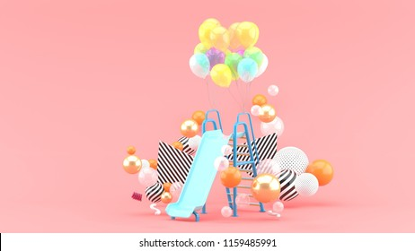 Children slide and balloons among colorful balls on pink background.-3d rendering.