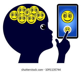 Children and smartphone addiction. Kid is addicted to positive messages on his cellphone