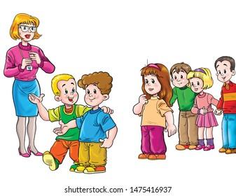 Children and teacher on white background