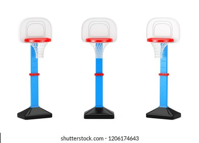 Children Toy Basketball Ring with Net on a white background. 3d Rendering