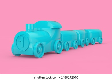 Children Toy Blue Plastic Train Mock Up Duotone on a pink background. 3d Rendering