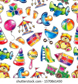 Children toys icons watercolor cute seamless pattern. It can be used like pattern for textile, wrapping paper, greeting cards or posters