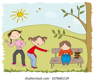 Children (two girls) bullying poor boy, sneering, offending him. The poor kid is sitting on the bench in the park, sobbing. Original hand drawn illustration of aggression towards other child.