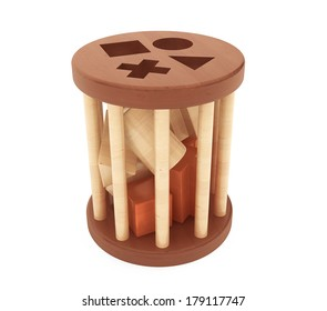 Children wooden shape sorter toy on a white background