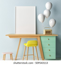 Children working room,,  Empty poster, 3d illustration