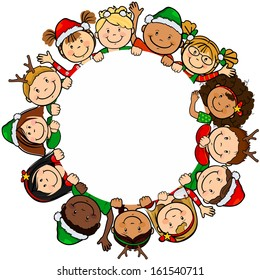 The children of the world in a white background with circle clothing Christmas