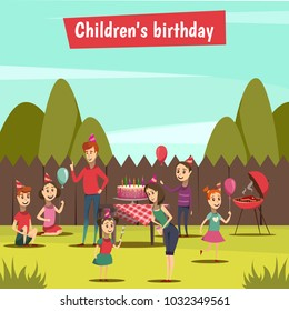 Childrens bithday party with barbecue and celebration symbols cartoon  illustration