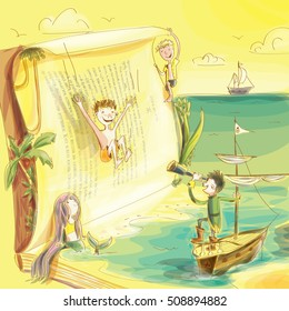 children's book magic world illustration