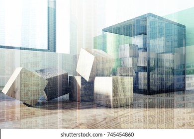 Childrens building blocks container with wooden bricks standing on the floor of a green and white striped nursery. 3d rendering mock up double exposure toned image