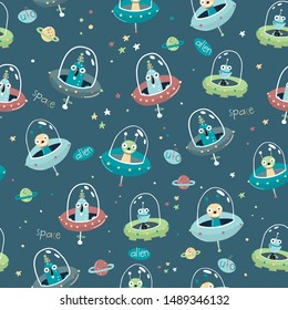 Children's and colorful pattern with spaceships, ufo and aliens. Great background for fabrics and textiles.