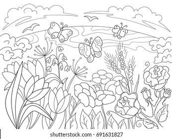 Childrens coloring cartoon Glade with flowers in nature. For adults raster illustration. Anti-stress for adult. Black and white lines