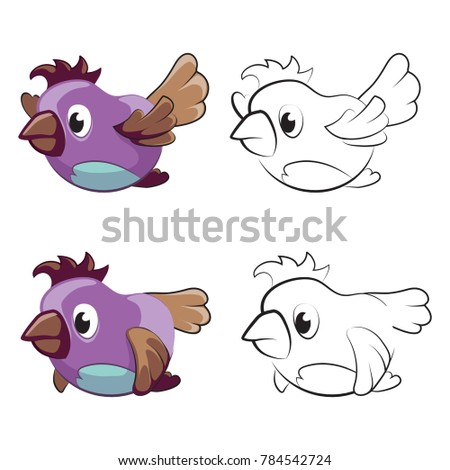 Childrens Coloring Page Flying Cartoon Birds Stockillustration ...