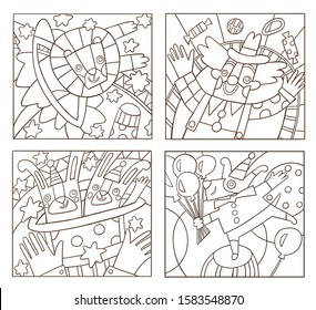 "children's coloring pages ""circus"": lion jumps through the Hoop, tricks with rabbits, clown juggles, dog on the ball"