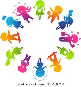 Children's Day concept. Cute children silhouettes around the World.