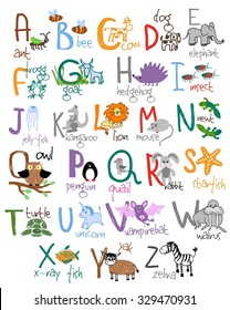 Childrens drawing Zoo alphabet
